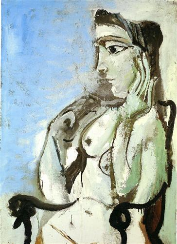 Female Nude Sitting in the Armchair, 1964