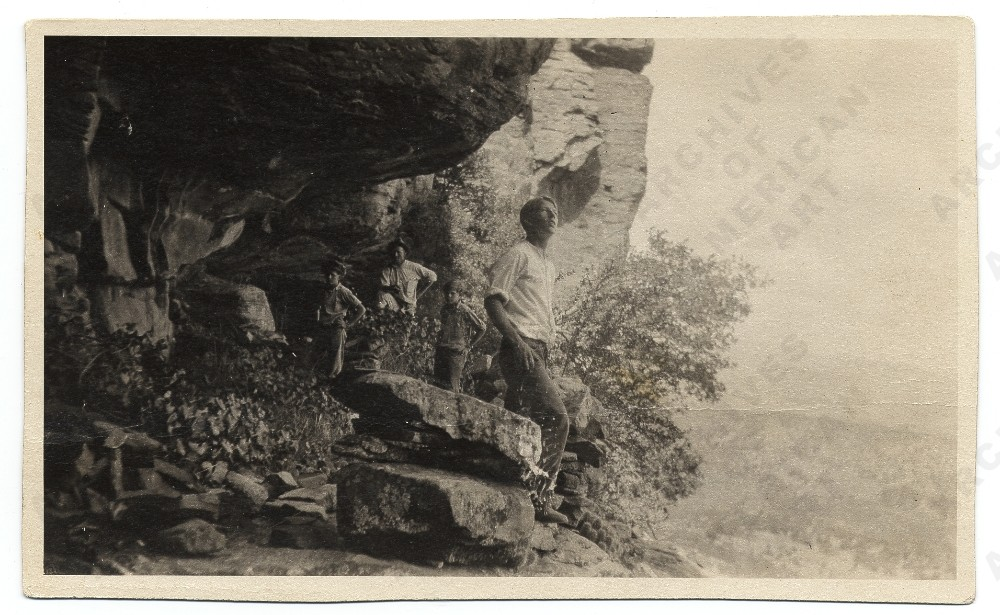 Jackson Pollock with father and brothers exploring Native American cliff dwellings in Arizona, 1924