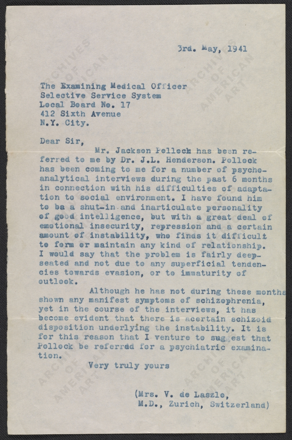 Dr Violet Staub de Laszlo's letter to the Medical Examining Officer of the Selective Service System, May 3rd, 1941