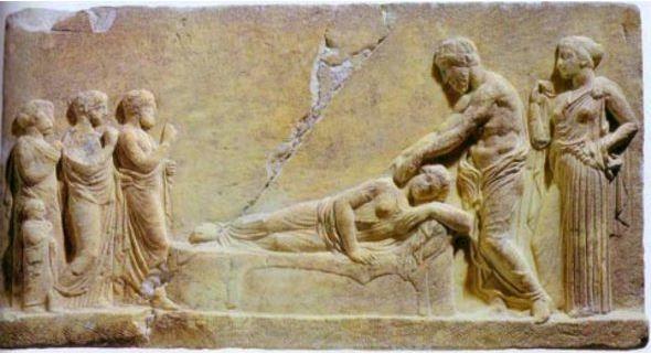 Asclepius healing a sick girl.