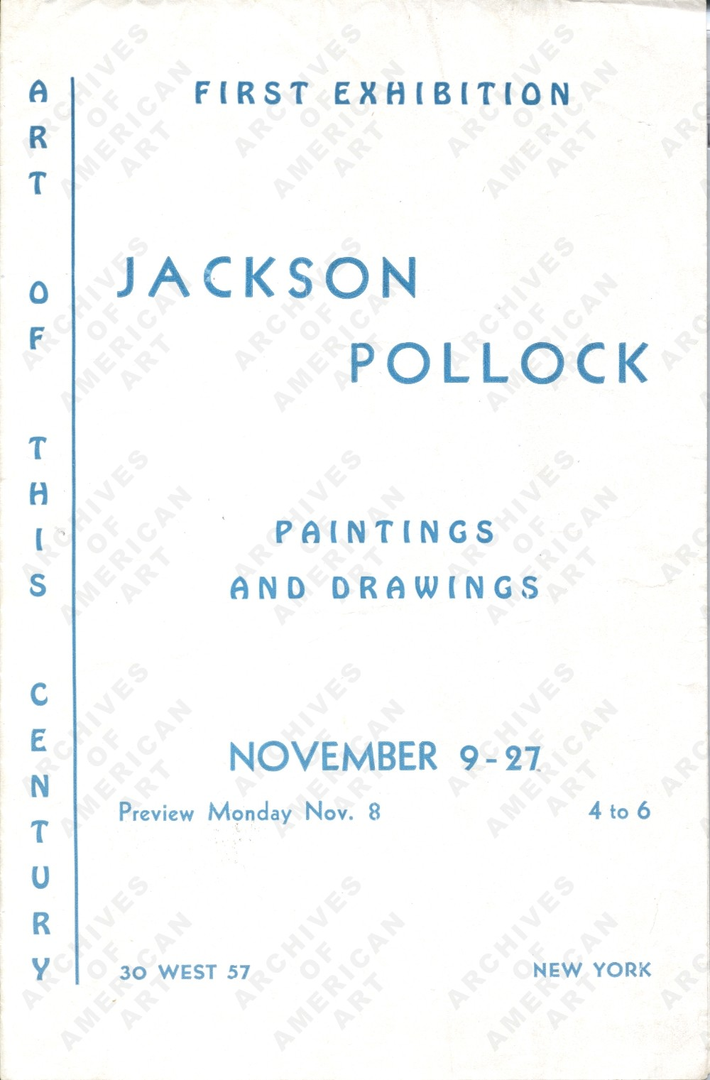 Cover of the catalog from Pollock's first exhibition at Art of This Century, November 1943.