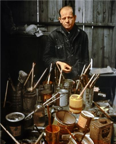 Jackson Pollock in his Studio by Arnold Newman, 1949