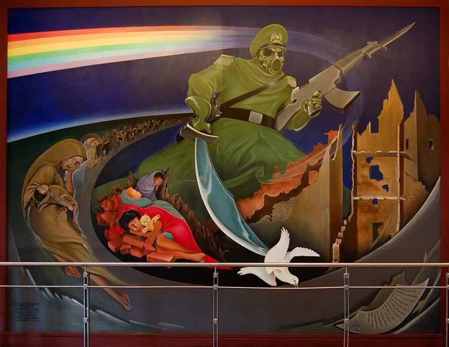 "Detail from Leo Tanguma's mural ""The Children of the World Dream of Peace,"" formerly at Denver International Airport."