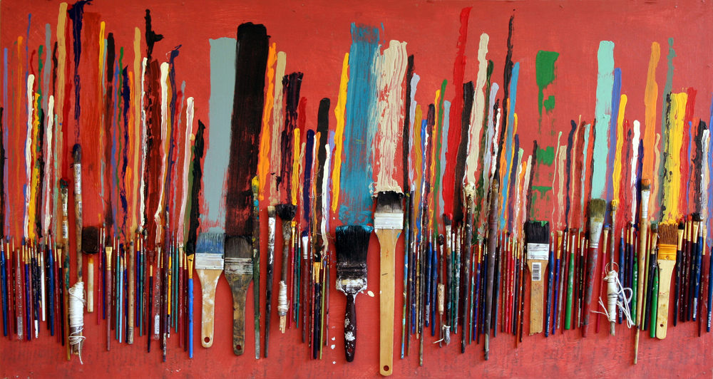 Christopher Hall,  Last Mark , acrylic and retired paint brushes on panel, 48x26, 2006