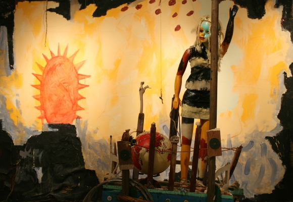Appalachia Girl (assemblage) installed in front of Old World New World (painting), 2008.
