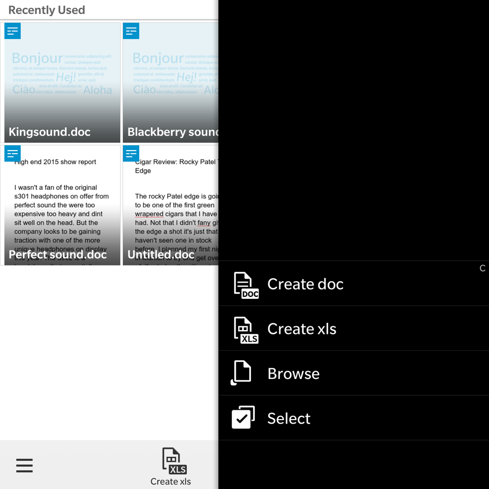 Word app for Blackberry Passport