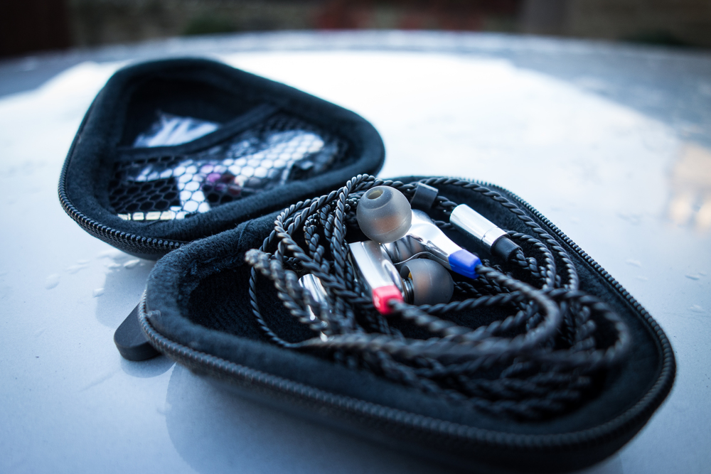 Trinity Audio Techne Earphones in custom earphone case.