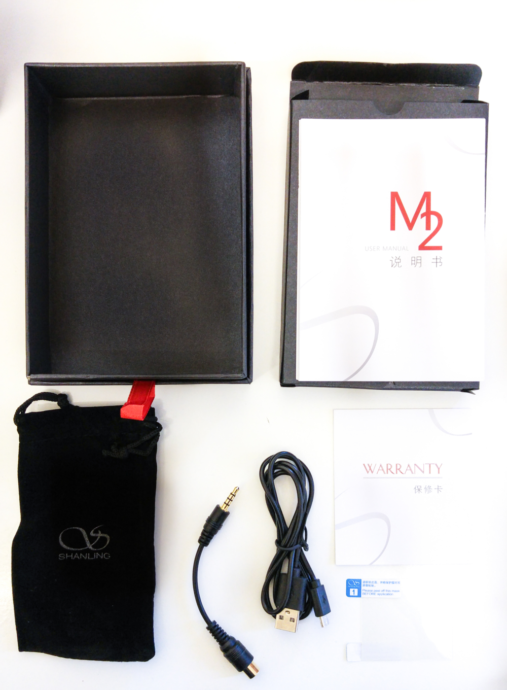 The Shanling Audio M2 accessories kit.