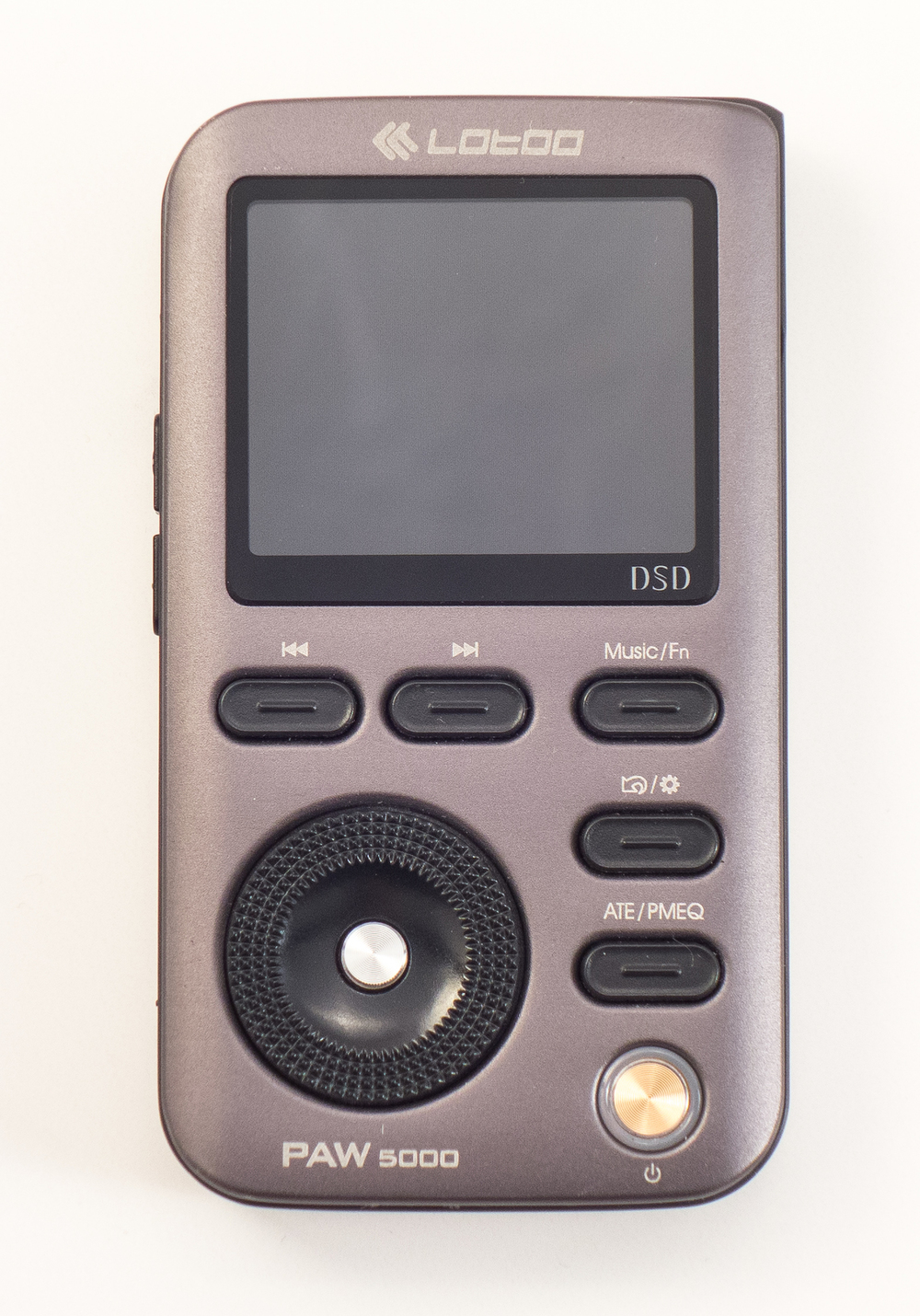 The front view of the Lotoo Paw 5000 looks somewhat dated when compared to other high resolution DAP's but there is a lot of control options for listening to your music.