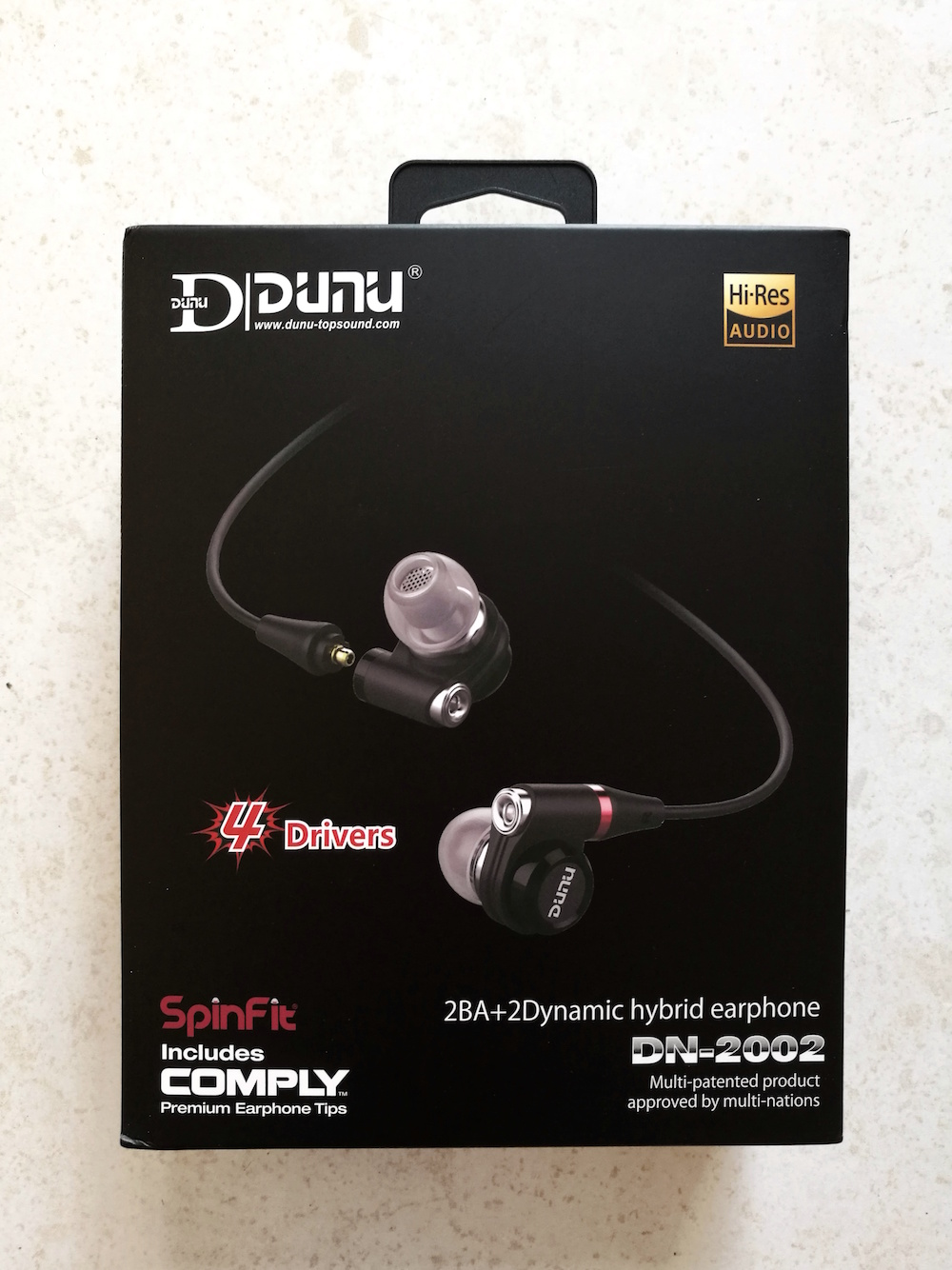 Packaging of the Dunu DN-2002 earphones.