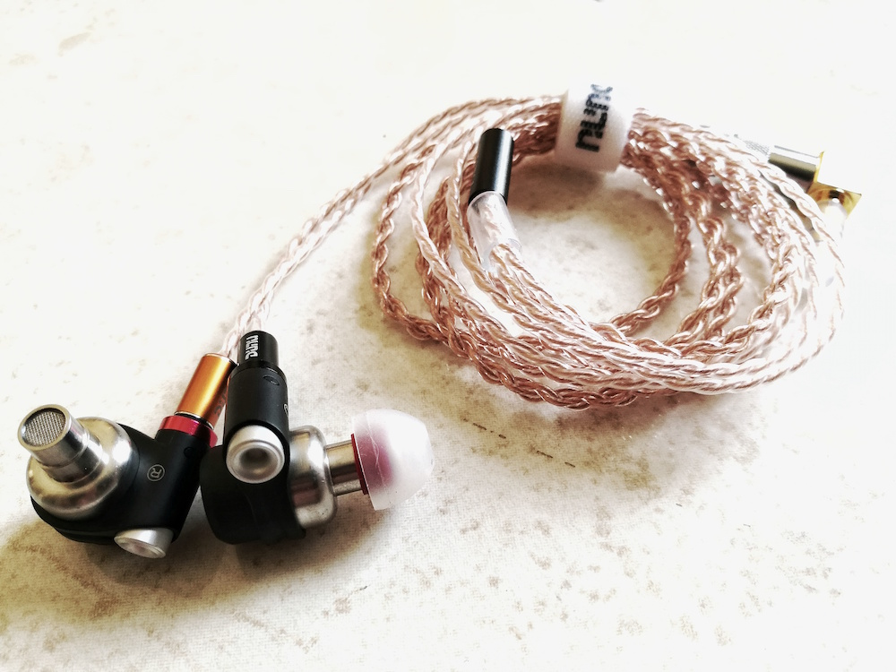Dunu DN-2002 IEM with Dunu's custom aftermarket copper cable.