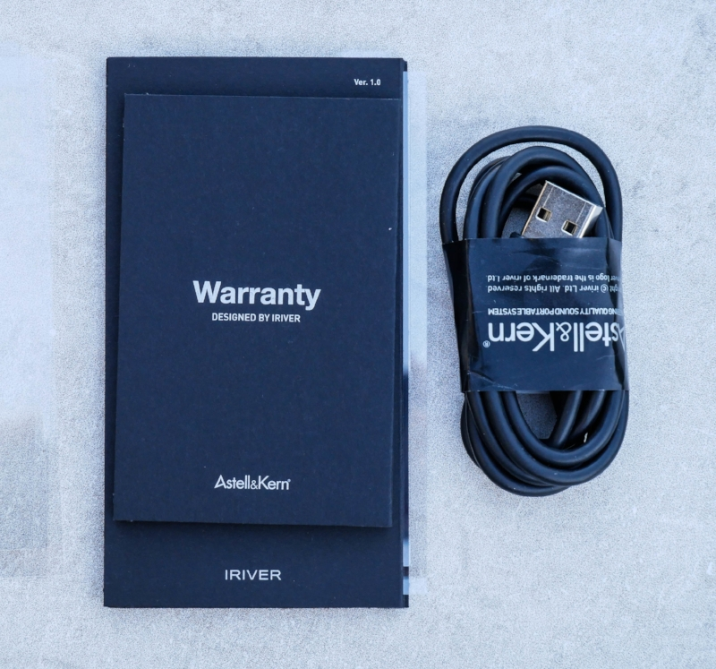 You don't get much in the way of extras with the Astell&Kern AK70 but we were happy to see some included screen prtectors along with the charging cable and manuals.