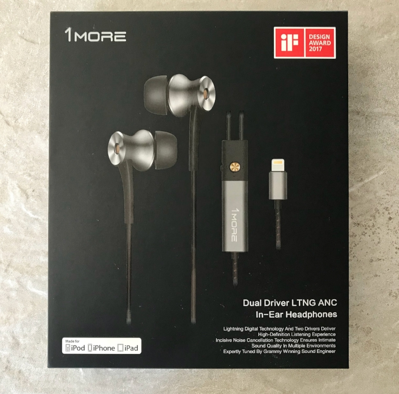Box and outer packaging for the 1More Dual Driver Lightning earphones.