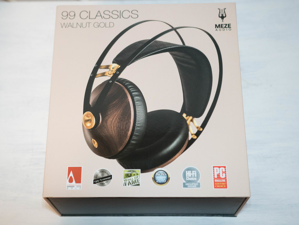 Box for the Meze 99 Classic Headphones in the Walnut gold colour scheme.