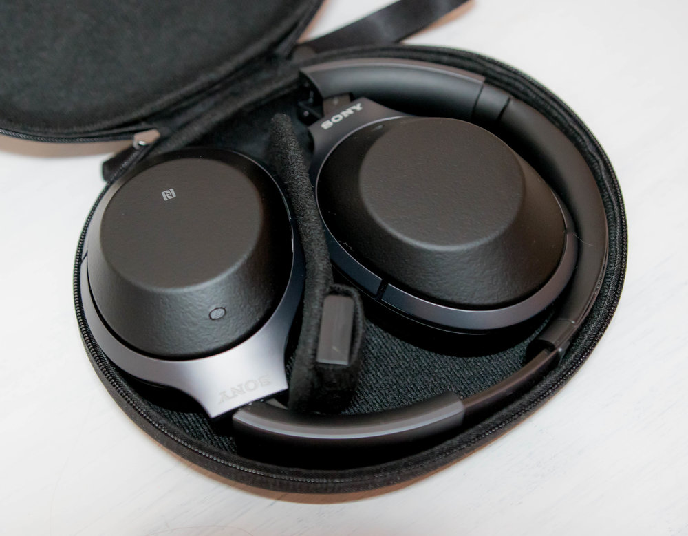 WH-1000XM2 headphones in the included carry case.