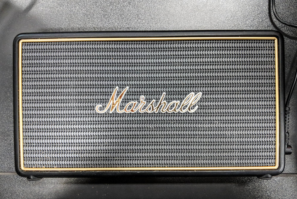 Marshall Stockwell Bluetooth speaker in black and gold.