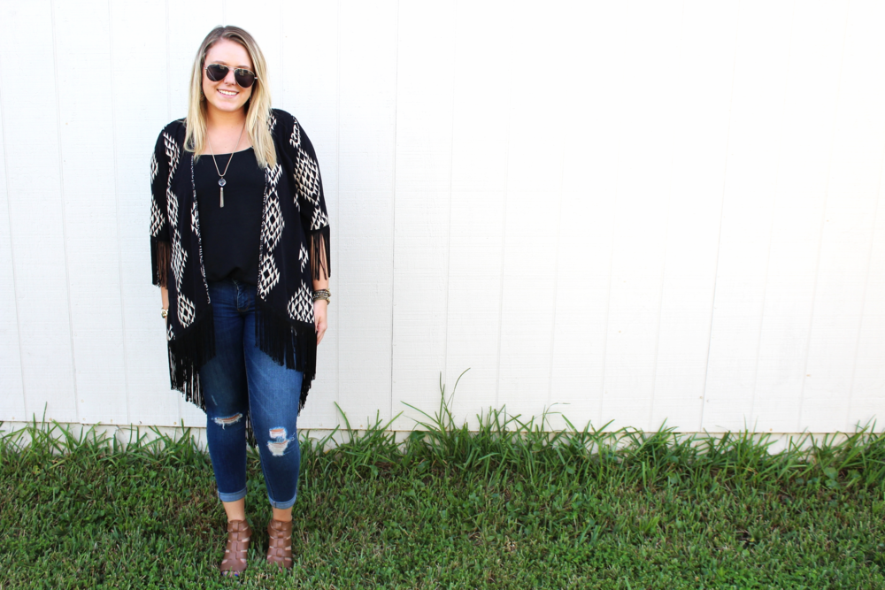 {Kimono:  Belk  // Top:  Belk  // Jeans:  Old Navy  // Shoes:  Belk  // Earrings: Forever21 // Necklace, Forever21 // Bracelets:  Chloe + Isabel ,  Chloe + Isabel  // Sunnies: Forever21}