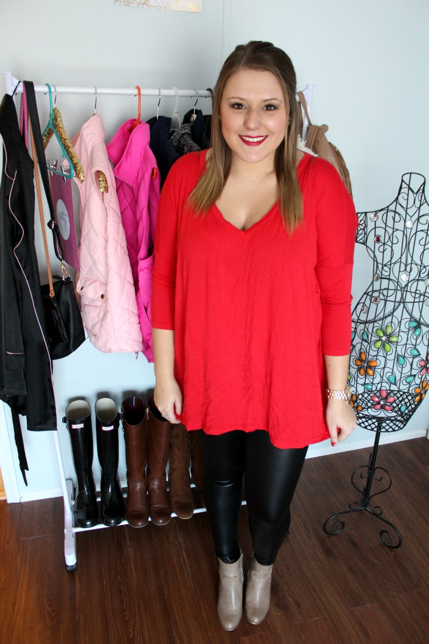 Piko: Entourage Boutique // Faux Leather Leggings: Jane.com // Booties: Target