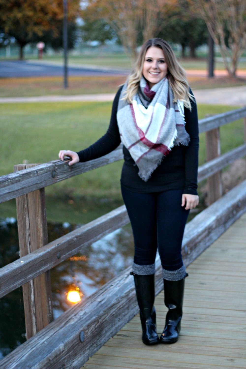6e800e4bd ... so my Cuddl Duds v-neck goes great under a big blanket scarf! My Cuddl  Duds knee socks were the perfect touch to this cozy fall winter outfit.