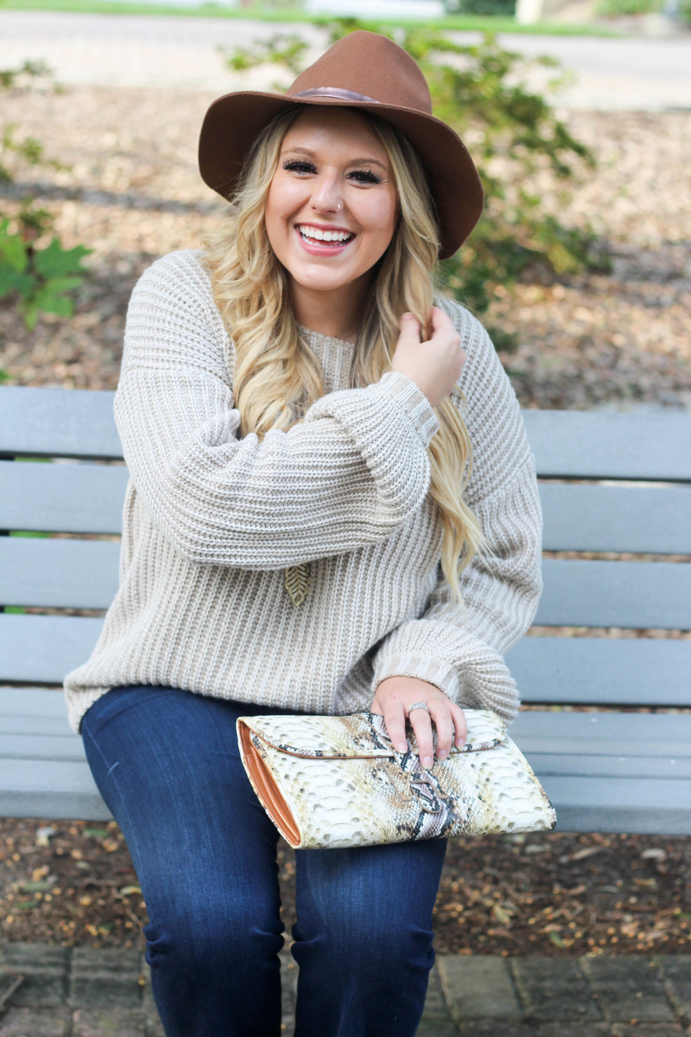 Hat: Target / Sweater: Tobi / Jeans: Stitch Fix / Clutch: Old / Booties: Old / Sunnies: Vintage Store
