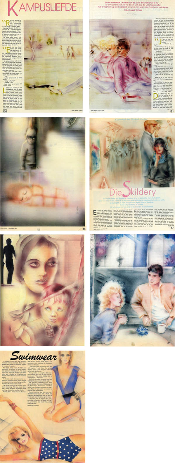 These freelance Magazine Illustrations were painted with acrylic airbrush.  They were made while Liz lived in Alice, South Africa for Sarie Magazine in Capetown, SA.