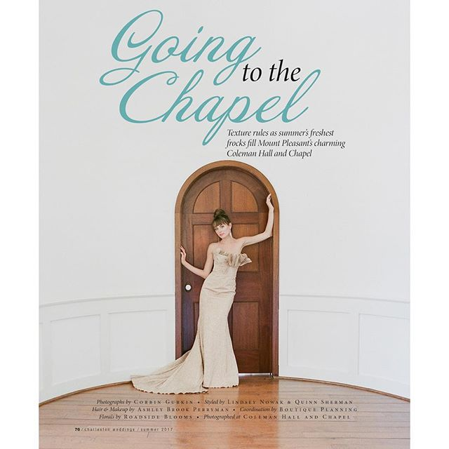 We were honored to have our venue serve as the backdrop for this beautiful photo shoot put together by the talented crew at @charlestonweddings magazine, with photos from the talented @corbingurkin. Be sure to check out the full feature on fabulous summer frocks in the current issue, on magazine stands now! . . . #charlestonweddings #colemanchapel #colemanhall #photoshoot #weddinggown #weddingdress #summerweddings #weddinginspiration #charlestonweddingsmagazine #weddingchapel #weddingvenue #goingtothechapel