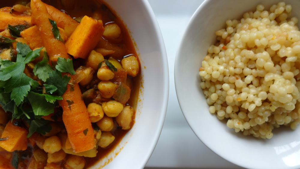 North African-style tagine with a side of Israeli couscous