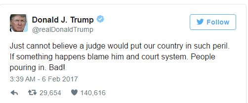 Trump opinion on court system