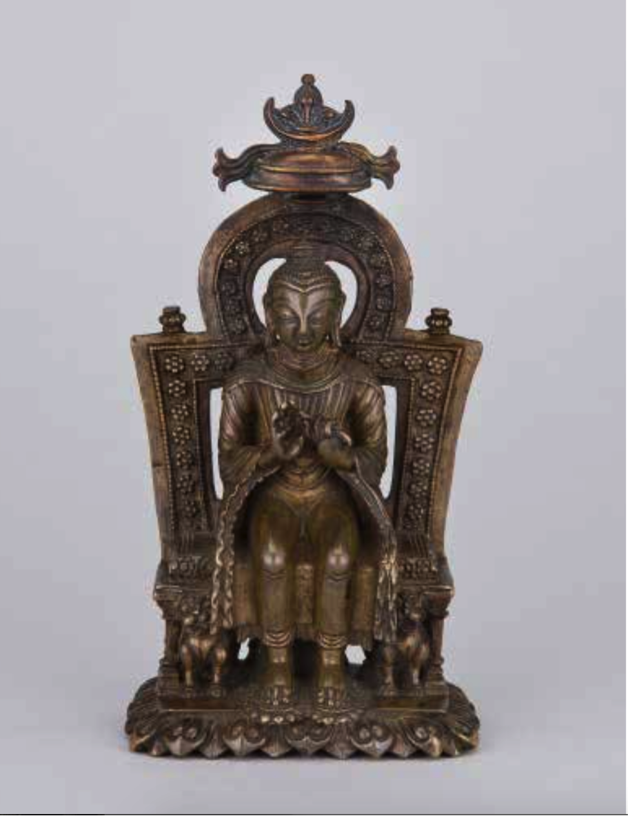 "Figure 2. ""Seated Buddha Maitreya"", ca. 12th century, Kashmir. Copper alloy, H. 6.5 inches. Currently at The Mary and Leigh Block Museum of Art, on loan from Rubin Museum of Art, where it is on long-term loan from Nyingjei Lam Collection. Image taken from: Rob Linrothe, Collecting Paradise: Buddhist Art of Kashmir and Its Legacies, (New York: Rubin Museum of Art, Evanston: Northwestern University, Mary and Leigh Block Museum of Art) 2014, p. 68."
