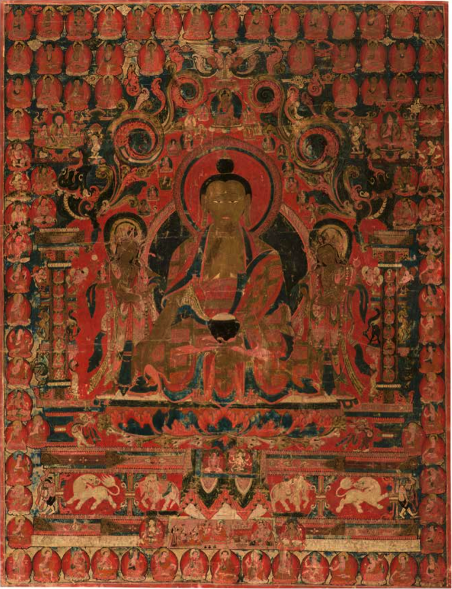 "Figure 3. ""The Supreme Physician (Bhaisajyaguru) and His Celestial Assembly"", 15th century, Western Tibet. Mineral pigments on cotton cloth, approx. 32 x 24 inches. Currently at The Mary and Leigh Block Museum of Art, on loan from Los Angeles County Museum of Art. Image taken from: Rob Linrothe, Collecting Paradise: Buddhist Art of Kashmir and Its Legacies, (New York: Rubin Museum of Art, Evanston: Northwestern University, Mary and Leigh Block Museum of Art) 2014, p. 168."