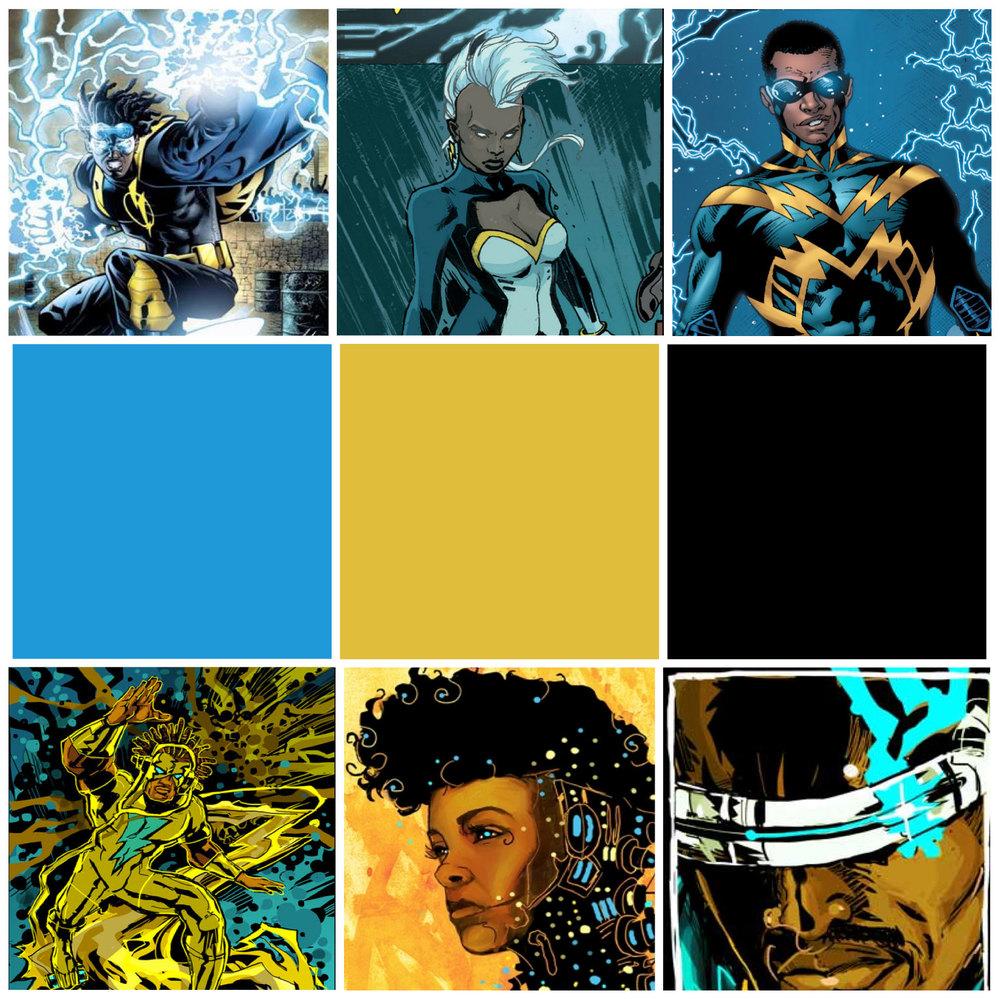 Figure 2. Top: Static, Storm, Black Lightning; Bottom: Electric Slider, Janelle Monáe, Kid Code.