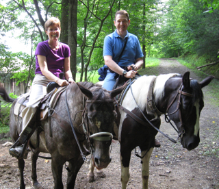 Carrie and Marty in 2013 enjoy a guided horse back ride in the Smoky Mountains.