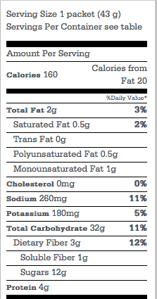 Instant oatmeal, maple, & brown sugar nutrition label