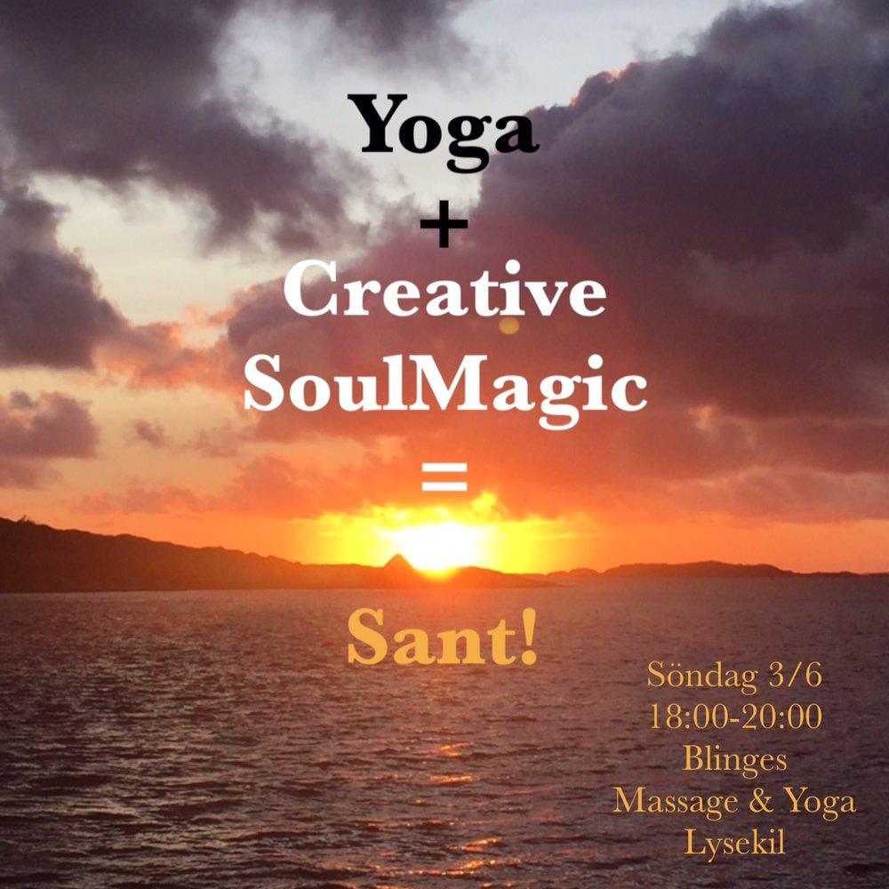 Bild  med text Yoga och Creative SoulMagic. Bild med text och info. 3 juni 2018.JPG