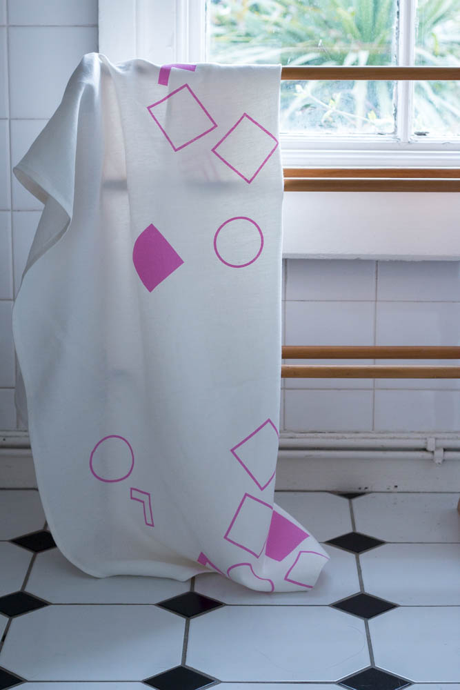 Irish linen bath towel designed by Jette Virdi for Irish made homeware range, Created and Found