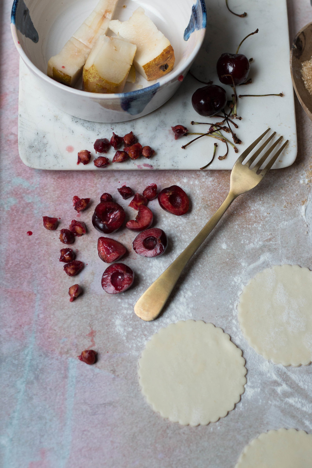 Cherry + Pear Pies by Jette Virdi, food stylist based in Dublin