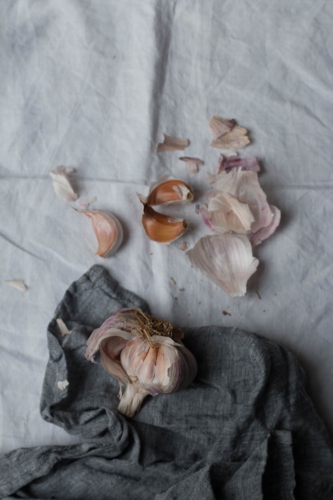 Raw pink garlic photographed by Jette Virdi, food stylist