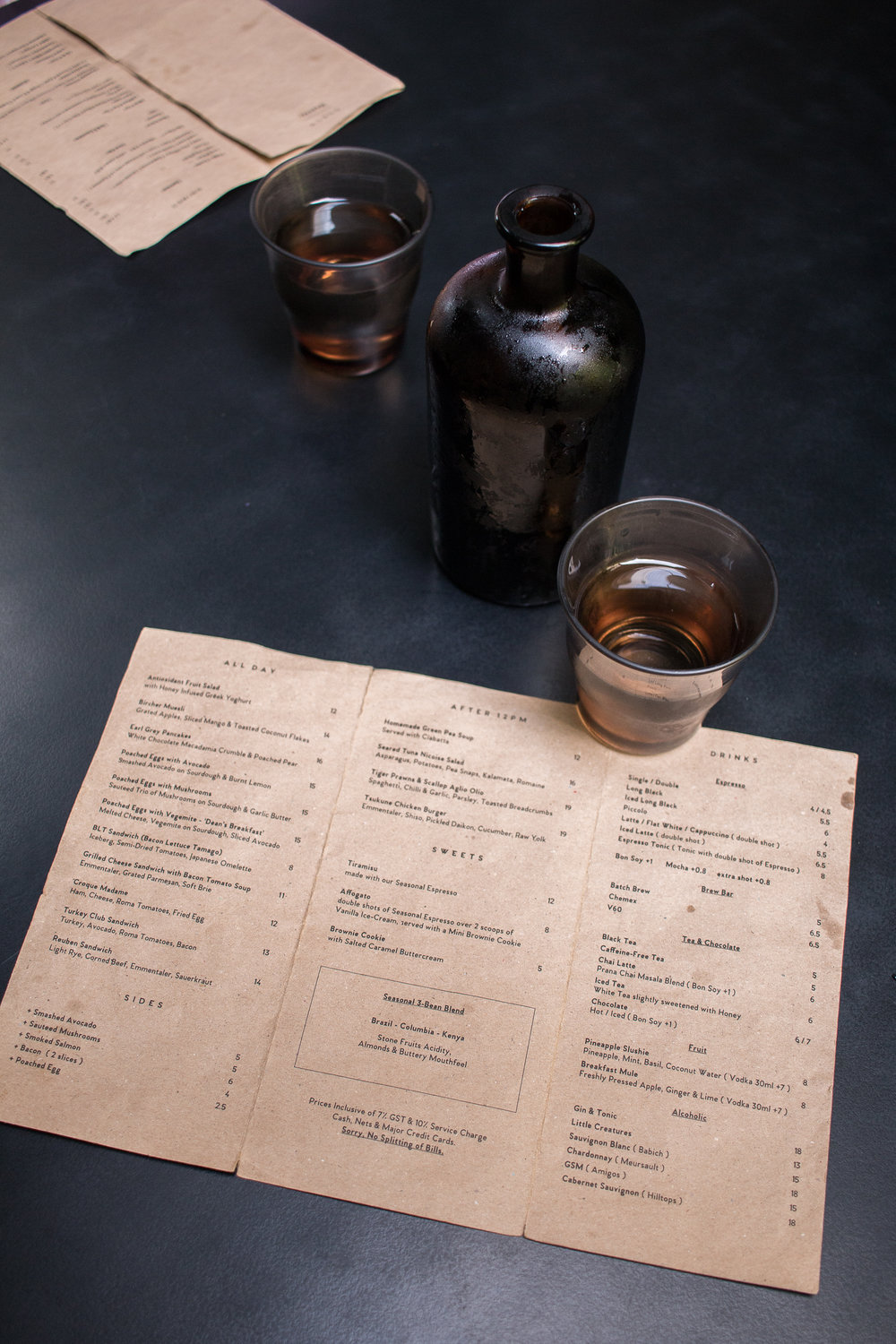 The menu at Punch photographed by Jette Virdi in Singapore