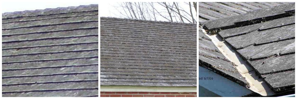 Asbestos shingle roofs. Photos from ( http://www.oldhouseweb.com/how-to-advice/cement-asbestos-roofing.shtm l)