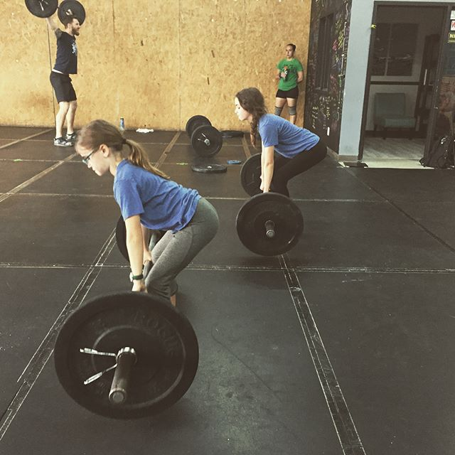 """Good job to these sisters who took on their own version of """"Nancy"""" today: goblet squats and 200m runs 🏃🏻♀️🏃🏻♀️ @crossfit615 @crossfitkids"""
