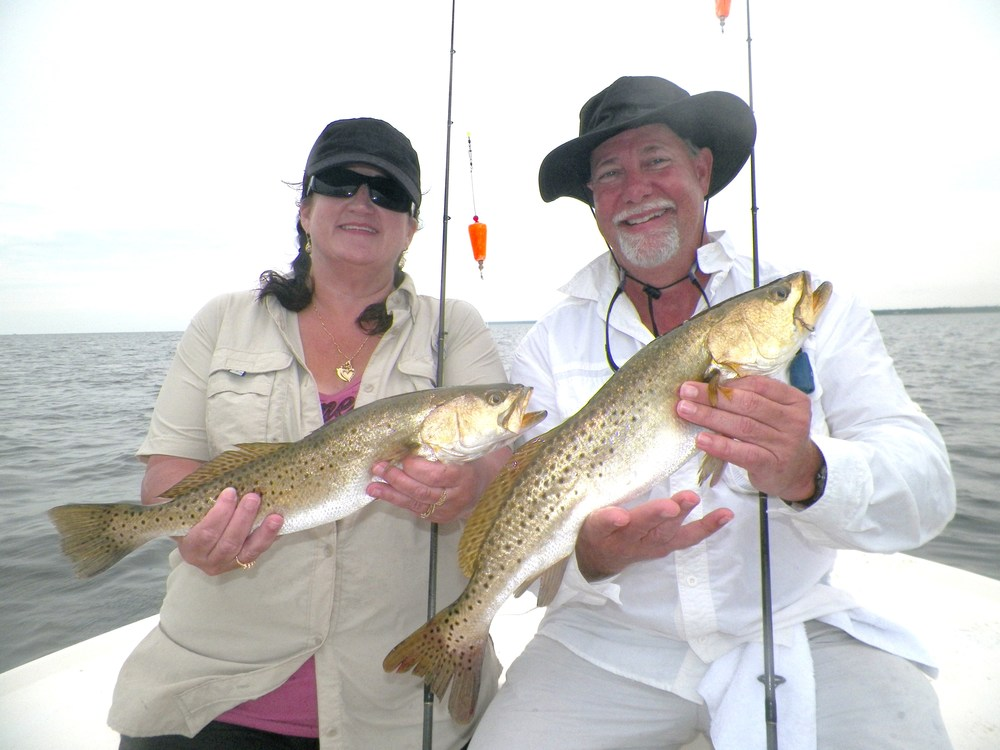 "Dawn Taylor, Perry Chamber of Commerce, with Steve( ""Stevie D"") Johnson of 98.1 F.M. Live Oak with a great ""double"" of Specks caught 9/19/14"