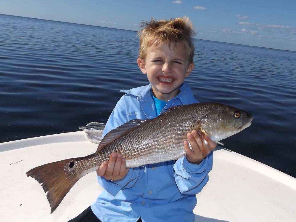 "Porter harden of ft. walton beach, Florida with the largest fish of the day! a 21"" redfish!"