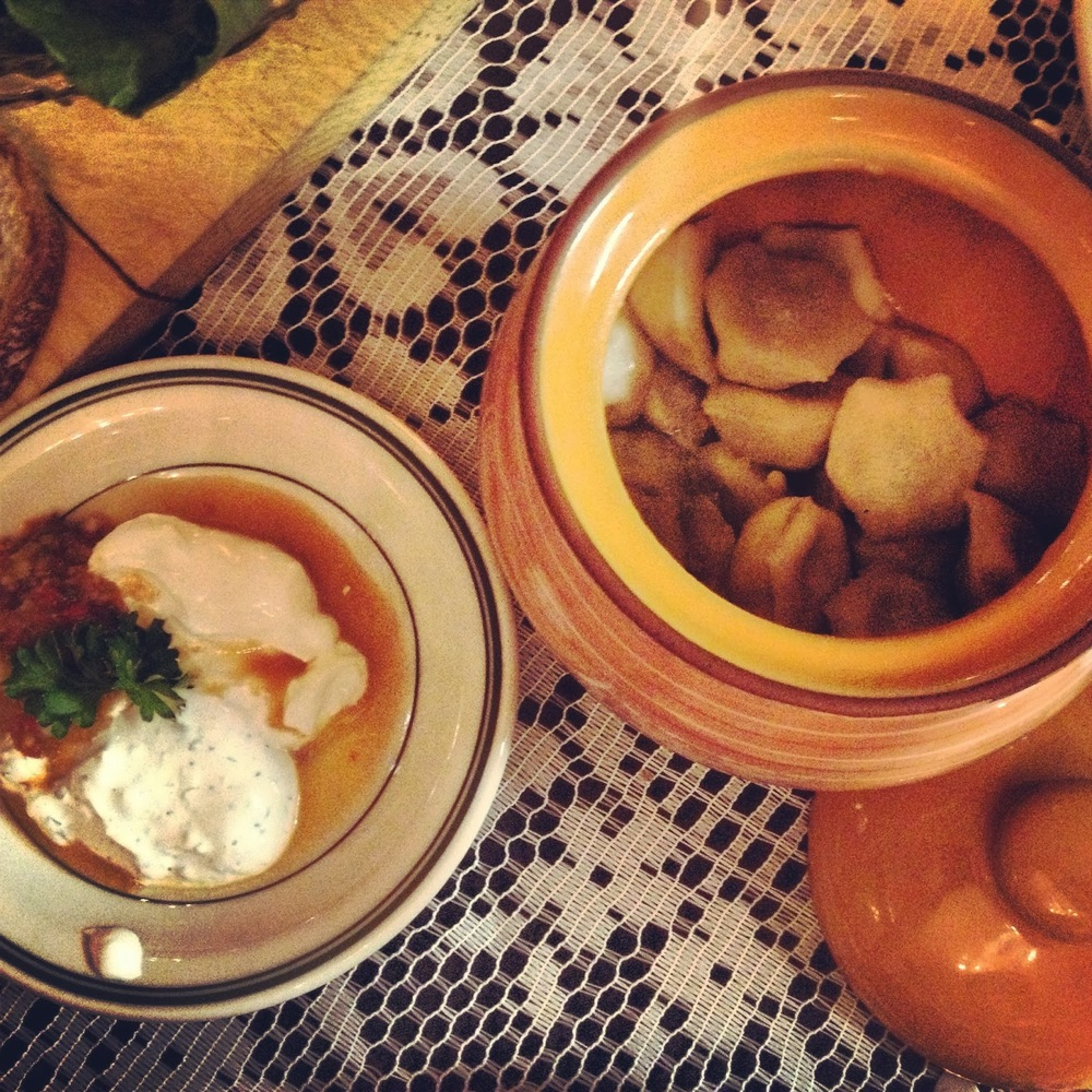 elk pelmeni and some creamy and spicyaccoutrements