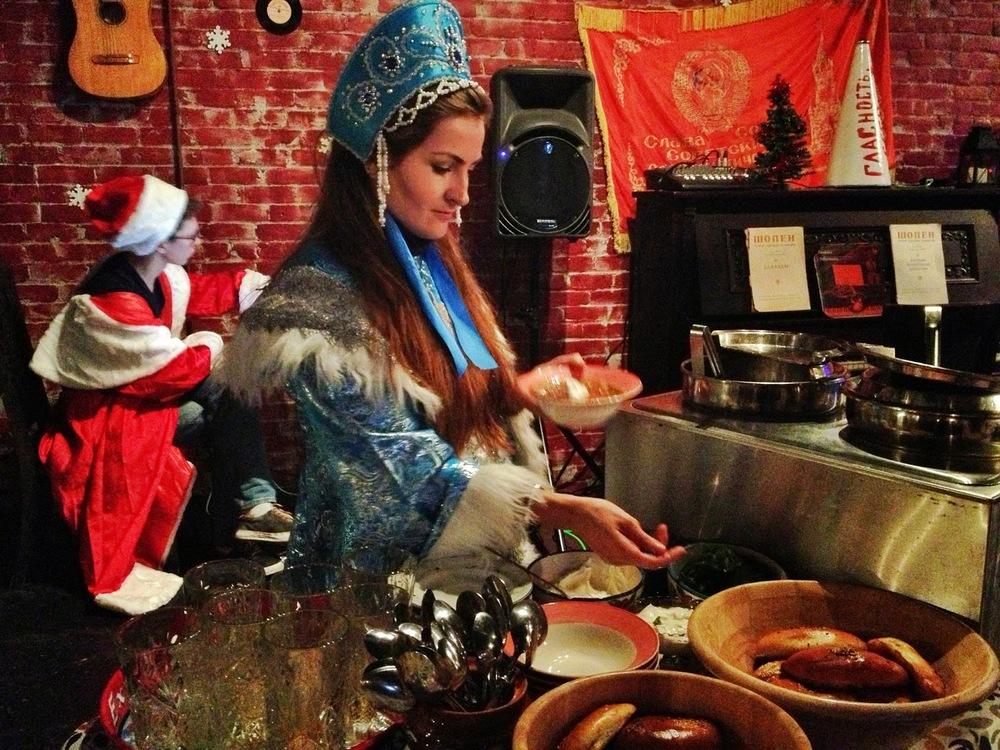 during Christmas, servers dressed like Snegurochka and served borscht while Santa DJ'ed