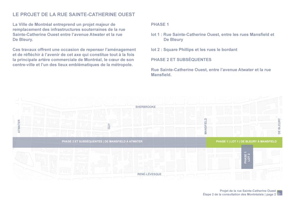 Tiré du document Projet de la rue Sainte-Catherine Ouest :Propositions préliminaires de partage de la rue pour discussion,  publié par la Ville de Montréal dans le cadre du Projet Sainte-Catherine Ouest.