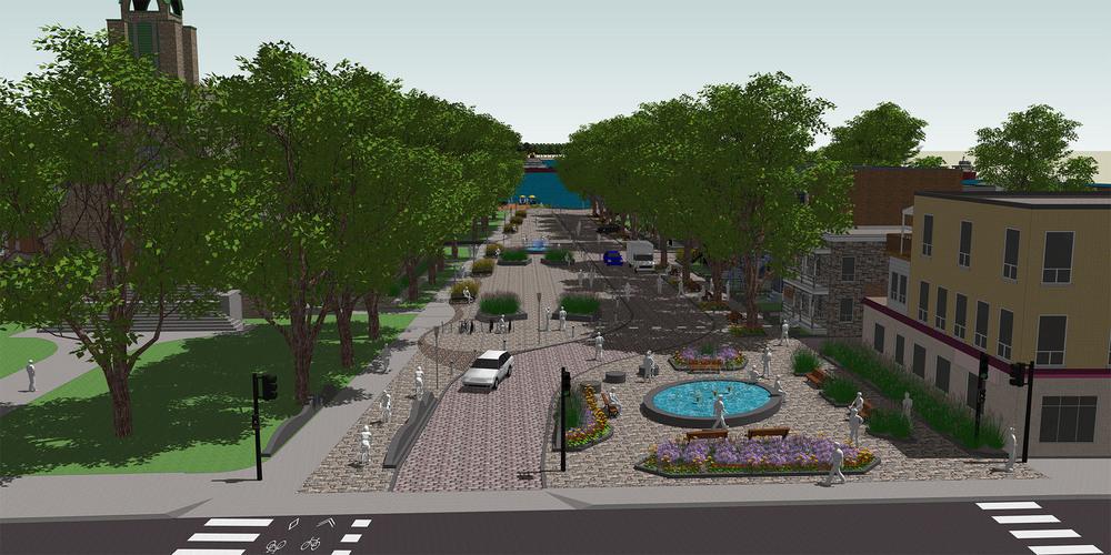 Concept d'aménagement de la future place publique dans le Vieux-Pointe-aux-Trembles