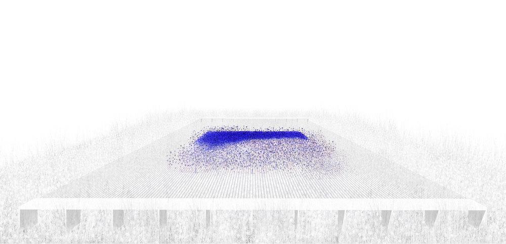 Carré bleu sur fond blanc