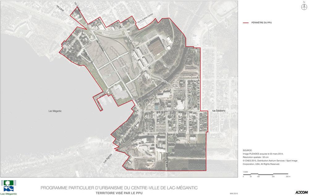 Territoire visé par le Programme particulier d'urbanisme