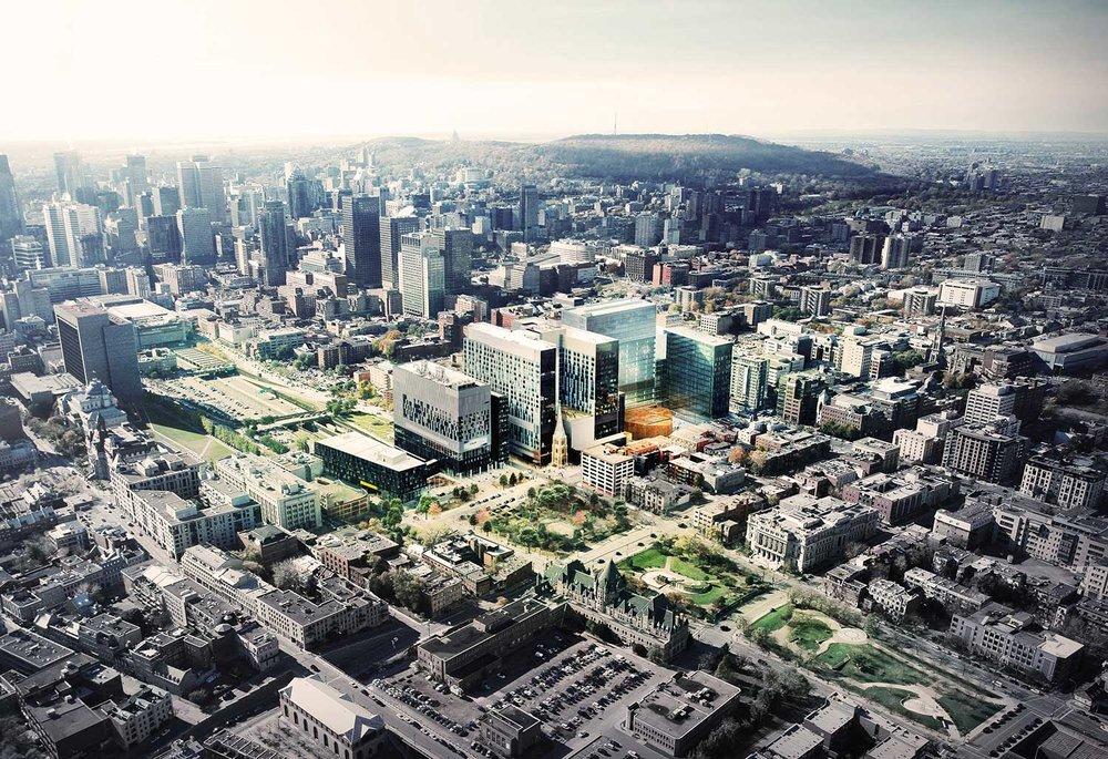 Le nouveau CHUM dans son contexte urbain