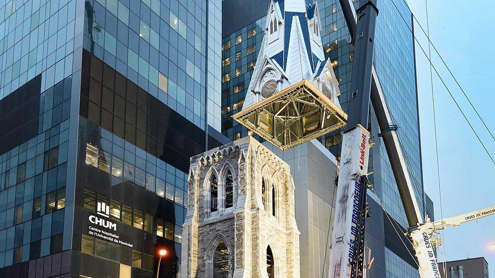 Installation de flèche du clocher Saint-Sauveur